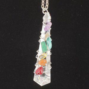 Chakra Pendant Necklace w/ Silver Tone Chain.